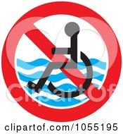 Royalty Free Vector Clip Art Illustration Of A No Handicap Beach Access Symbol