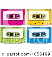 Royalty Free Vector Clip Art Illustration Of A Digital Collage Of Audio Cassette Tapes by Any Vector