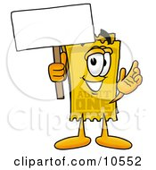 Clipart Picture Of A Yellow Admission Ticket Mascot Cartoon Character Holding A Blank Sign