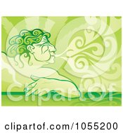 Royalty Free Vector Clip Art Illustration Of Aeolus Displayed As A Pot Smoker Exhaling by Any Vector