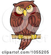 Royalty Free Vector Clip Art Illustration Of A Cartoon Owl Perched