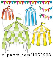 Royalty Free Vector Clip Art Illustration Of A Digital Collage Of Big Top Circus Tents And Banners by Any Vector
