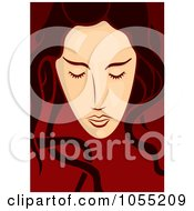 Royalty Free Vector Clip Art Illustration Of A Long Haired Womans Face On Red 1 by Any Vector