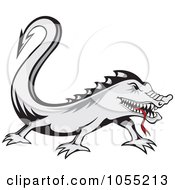 Royalty Free Vector Clip Art Illustration Of A Gray Lizard With A Red Tongue by Any Vector