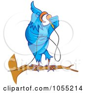 Royalty Free Vector Clip Art Illustration Of A Singing Blue Bird