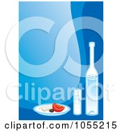 Royalty Free Vector Clip Art Illustration Of Greek Food And Wine On Blue by Any Vector