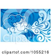 Royalty Free Vector Clip Art Illustration Of A Aeolus Blowing Wind by Any Vector