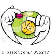 Royalty Free Vector Clip Art Illustration Of A Pair Of Hands Adjusting A Camera Lens