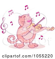 Royalty Free Vector Clip Art Illustration Of A Pink Violinist Cat