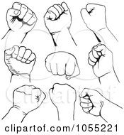 Royalty Free Vector Clip Art Illustration Of A Digital Collage Of Black And White Fists by Any Vector