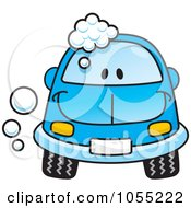 Royalty Free Vector Clip Art Illustration Of A Happy Blue Car With Soap Bubbles