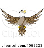 Royalty Free Vector Clip Art Illustration Of A Bald Eagle With Spread Wings by Any Vector #COLLC1055223-0165