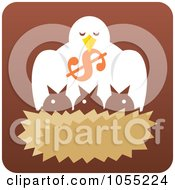 Royalty Free Vector Clip Art Illustration Of A Bird Dropping A Dollar Symbol Into A Nest