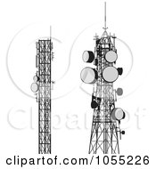 Royalty Free Vector Clip Art Illustration Of A Digital Collage Of Communication Towers