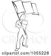 Royalty Free Vector Clip Art Illustration Of A Black And White Man Waving A Flag by Any Vector