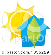 Royalty Free Vector Clip Art Illustration Of A Blue House With A Leaf And Sun