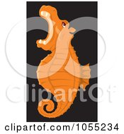 Royalty Free Vector Clip Art Illustration Of An Orange Seahorse by Any Vector