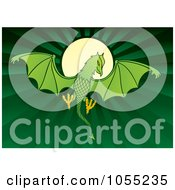 Royalty Free Vector Clip Art Illustration Of A Green Dragon Like Daemon Against A Full Moon by Any Vector