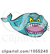 Royalty Free Vector Clip Art Illustration Of A Mean Toothy Fish