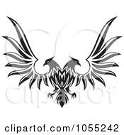 Royalty Free Vector Clip Art Illustration Of A Black And White Double Headed Eagle With Spread Wings