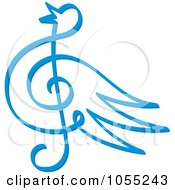 Royalty Free Vector Clip Art Illustration Of A Blue Bird Music Note