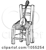 Royalty Free Vector Clip Art Illustration Of A Black And White Baglamas Resting On A Chair by Any Vector