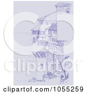 Royalty Free Vector Clip Art Illustration Of A Purple Sketch Of Coastal Buildings by Any Vector