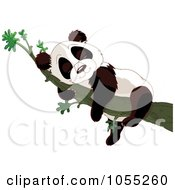Royalty Free Vector Clip Art Illustration Of A Cute Baby Panda Sleeping In A Tree
