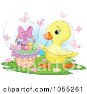 Royalty Free Vector Clip Art Illustration Of A Cute Easter Chick And Butterflies By An Easter Basket by Pushkin