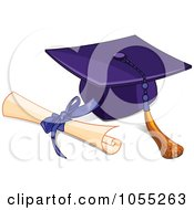 Royalty Free Vector Clip Art Illustration Of A Graduation Cap And Tassel With A Diploma by Pushkin