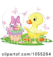 Royalty Free Vector Clip Art Illustration Of A Cute Easter Chick By An Easter Basket by Pushkin