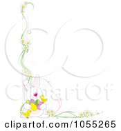 Royalty Free Vetor Clip Art Illustration Of An Easter Corner Border Of Daisies Chicks And A Rabbit Holding Eggs