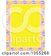 Royalty Free Vetor Clip Art Illustration Of An Easter Border Of Eggs And Chicks Around Yellow Copyspace