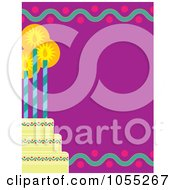 Royalty Free Vetor Clip Art Illustration Of A Birthday Frame Of A Tiered Cake With Three Candles On Purple by Maria Bell