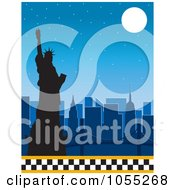 Royalty Free Vetor Clip Art Illustration Of A Silhouetted Statue Of Liberty And New York Skyline Under A Full Moon With A Lower Taxi Border