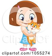 Royalty Free Vector Clip Art Illustration Of A Happy Girl Holding Her Orange Kitty by yayayoyo