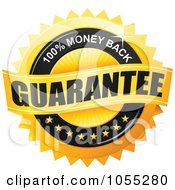 Royalty Free Vector Clip Art Illustration Of A Shiny Golden 100 Percent Money Back Guarantee Seal by TA Images