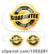 Royalty Free Vector Clip Art Illustration Of A Digital Collage Of Shiny Golden Guarantee Seals by TA Images
