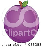 Royalty Free Vector Clip Art Illustration Of A Round Plum by John Schwegel