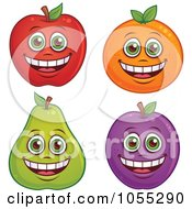 Digital Collage Of Happy Apple Orange Pear And Plum Characters