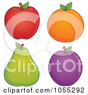 Royalty Free Vector Clip Art Illustration Of A Digital Collage Of An Apple Orange Pear And Plum by John Schwegel