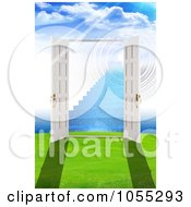 Royalty Free Clip Art Illustration Of 3d Open French Doors Leading To Stairs In Another Dimension by MacX