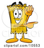 Clipart Picture Of A Yellow Admission Ticket Mascot Cartoon Character Waving And Pointing