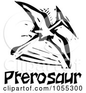 Royalty Free Vector Clip Art Illustration Of A Black And White Woodcut Styled Pterosaurs Dinosaur by xunantunich
