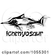 Royalty Free Vector Clip Art Illustration Of A Black And White Woodcut Styled Ichthyosaur Dinosaur by xunantunich