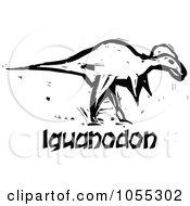 Royalty Free Vector Clip Art Illustration Of A Black And White Woodcut Styled Iguanadon Dinosaur by xunantunich
