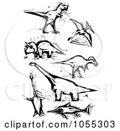 Royalty Free Vector Clip Art Illustration Of A Digital Collage Of Black And White Woodcut Styled Dinosaurs