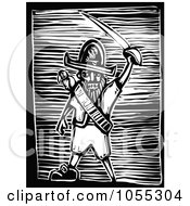 Royalty Free Vector Clip Art Illustration Of A Black And White Woodcut Styled Pirate Holding A Sword by xunantunich