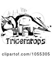 Royalty Free Vector Clip Art Illustration Of A Black And White Woodcut Styled Triceratops Dinosaur