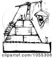 Black And White Woodcut Styled People Building A Pyramid